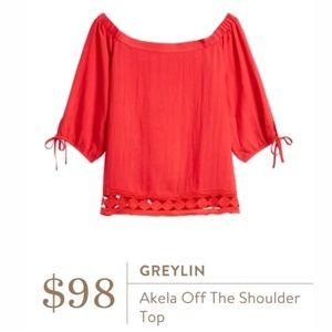 Greylin STITCH FIX Akela Off The Should Top White